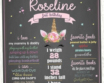 First Birthday Unicorn Chalkboard Sign / Printable Birthday Poster / Unicorn Birthday Decor / Printable Party Decorations / Unicorn Party
