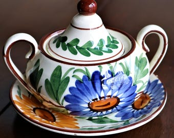 Vintage SMF Schramberg Covered Sugar Bowl and Saucer