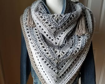 Cape Cod- Boho Style Crochet Triangle Scarf with Tassels