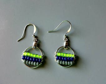 Small Action Green Round Seahawks Boho Earrings