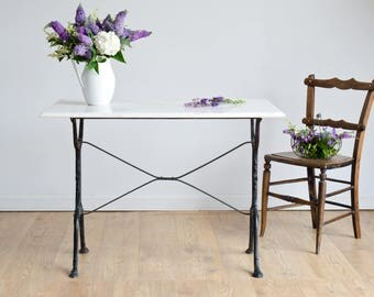 French Antique Table with Black Cast Iron Base and Carrara Marble Top