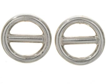 Sterling Silver Circle Bar Earrings Post Studs