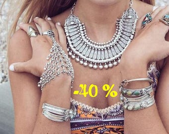 SUMMER SALE / / / Oriental breathe silver necklace / / / Bohemian gypsy ethnic necklace