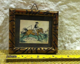 Vintage Picture Frame Horse Cowboy Dollhous Wall Pic Miniature, Accessoires Decoration