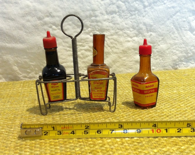 Vintage dolls shop accessories Maggi seasoning + stand and bottles