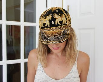 Gold, Sequined And Embroidered Horse Hat