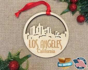 Los Angeles California Ornament *** Skyline Christmas Holiday Ornament *** CA
