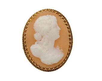 "Vintage 14kt HEAVY Gold Genuine Carved Shell Cameo Brooch Pin 1-5/8"" Large Big 12.2g Victorian Woman Maiden 14k 14 k kt Estate Statement"