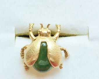 Estate 14k Yellow Gold Beetle Genuine Green Jade Pin Tie Tac Tack Insect 3.8g Marked 14 k kt 14kt BAB Antique Amazing Detail Unique Vintage