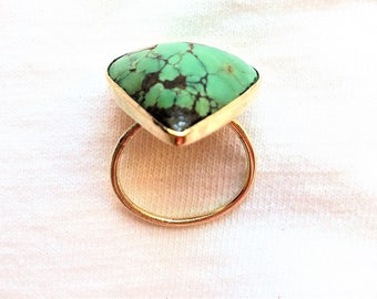 Estate 14k Gold HEAVY Vintage Genuine Turquoise Gemstone Ring 6.2g sz 7 Handmade Custom Big Large Huge Statement 14kt 14 kt k Green