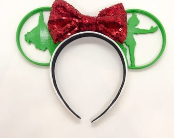 Peter Pan 3D Printed Disney Ears with choice of sequin bow