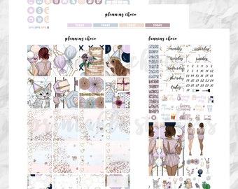 Birthday party printable planner stickers /EC vertical weekly kit / ECLP / pdf, jpg, cut files