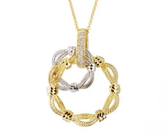 14k white and yellow gold diamond cut pendant