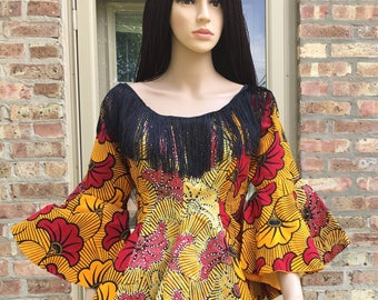 Embellished Ankara Peplum Top, Embroidered African Print Top, Ready to ship
