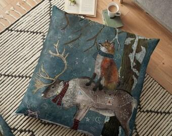 Winter Tale - Fox and Reindeer- Fox Pillow- Reindeer Pillow- Animal Pillow- Winter Pillow- Whimsical, Kids Room Decor, Christmas Gift Idea
