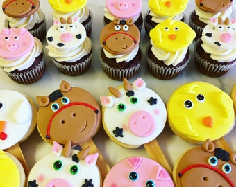 Farm Animals Party set/cupcake topper/farm cookies/pig/farm/animal cookies/cookies/sugar cookies/custom cookies/baby shower cookies/decorate