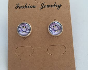 Cute purple owl earrings
