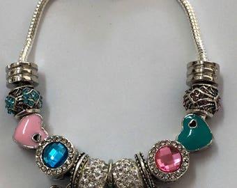 Pink and blue butterfly flower European charm bracelet