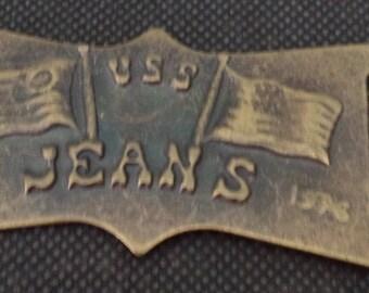 rectangular buckle bronze width 2.5 cm new
