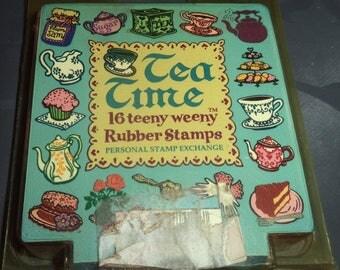 box of 16 mini foam pattern TEA TIME stamps
