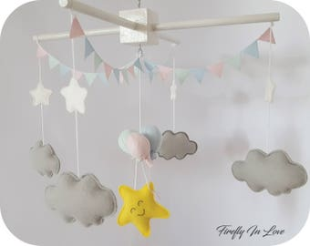 READY TO SHIP Baby Mobile - Baby Crib Mobile - Nursery Mobile Clouds – Stars and Clouds Mobile – Pastel Mobile – Hanging mobile – Balloons
