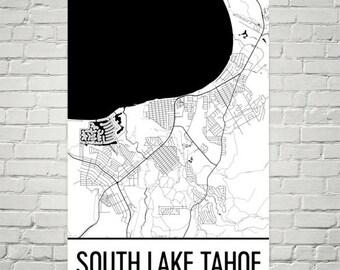 South Lake Tahoe Map, South Lake Tahoe Art, South Lake Tahoe Print, South Lake Tahoe CA Poster, South Lake Tahoe California Wall Art, Gifts