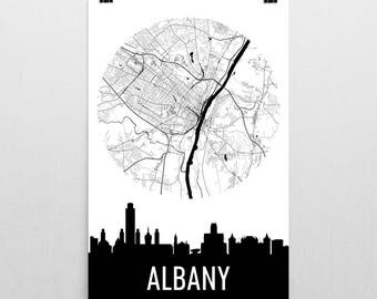 Albany Skyline, Albany Map, Albany Skyline Art, Albany Canvas Art, Albany City Map, Albany NY, Albany New York, Albany Print, Albany Poster