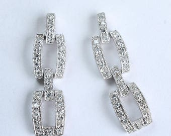 14k White Gold Diamond Earrings Elegant Bling Beautiful Encrusted