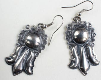 Navajo Indian Earrings Sterling Silver Native American Handmade Wire Drops Stamped