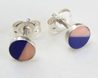 Sterling Silver Studs Lapis and Coral Earrings Zuni Indian Native American Small Tiny Inlaid Inlay