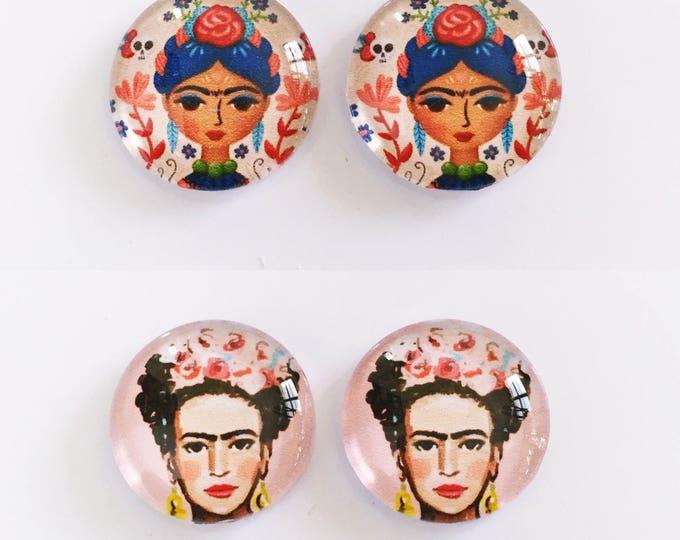 The 'Frida Kahlo' Glass Earring Studs