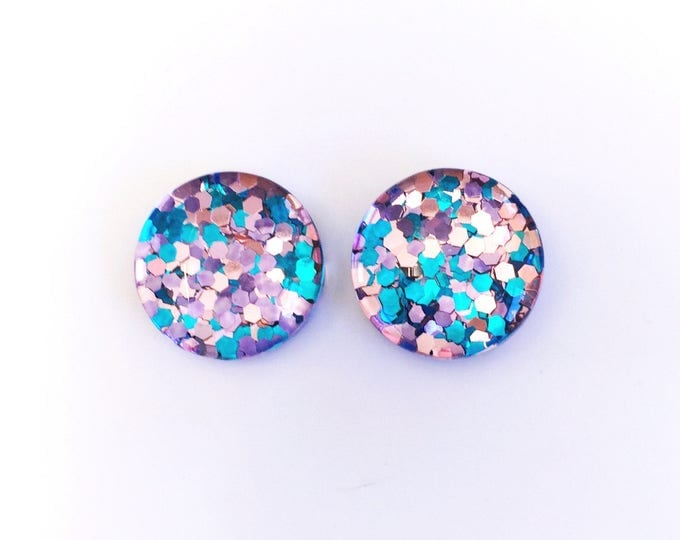 The 'Cotton Candy' Glass Glitter Earring Studs