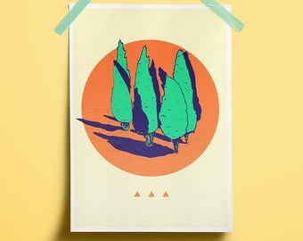 Sale art Cypresses Summer Colors hot decor Home vacations South West coast Teen Poster travel Plant minimal Print wall Tree collectibles