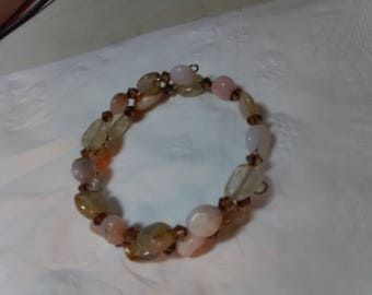 Pink Opal and Rutilated Quartz Bracelet