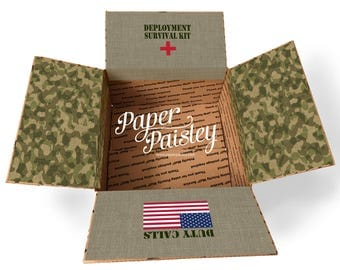 Care Package Sticker Kit - Deployment Survival Kit/Military Care Package/one day closer/box flaps/military gift