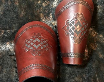 Handmade Leather Arm Cuffs with  Ancient Celtic Eagle design