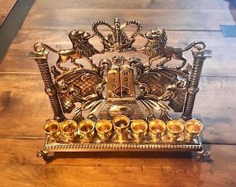 Beautiful Jewish Menorah Hanukkah Judaica, Silver Gold Menorah W/ The Ten Commandments, Lions and A Torah Crown, Collectible Antique Menorah