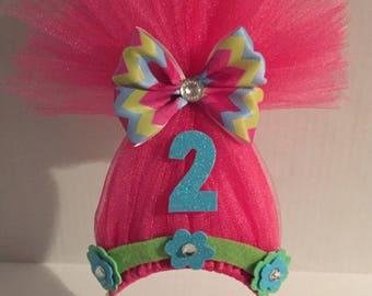 POPPY HEADBANDS, Poppy Troll Headband, Troll Birthday, Trolls Costume, Troll Party Favor, Poppy Headband, Poppy Hairbow