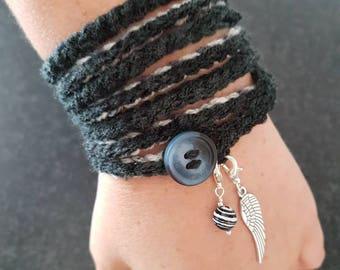 Handmade Crochet Wrap Bracelet with Charms Boho Vintage