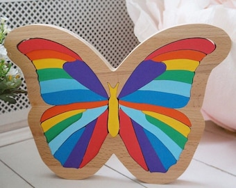 Wooden Butterfly Puzzle | Wooden Jigsaw Puzzle | Waldorf Inspired Baby Shower Gift | Nursery Decor | Montessori Educational Toy | Eco Toy