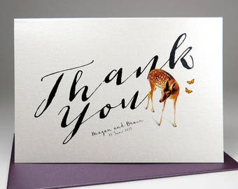Thank You Deerly Note Card Set /  Personalized Thank You Note Cards / Modern Stationery / Set of 10 Folded Shimmer Note Cards - T303
