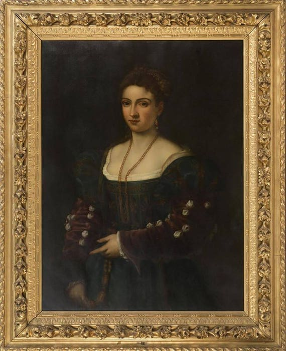 "19th Century Continental School Oil Painting After Titian Entitled ""La Bella"""