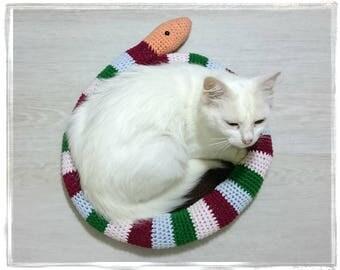 Snail cat bed Crochet kitten rug mat Puppy quilt sleeping place bedding pad carpet Cat furniture scratcher Cosy cat basket Pet lover's gift