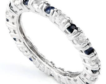 Sapphire and White Topaz Stackable Ring in Sterling Silver