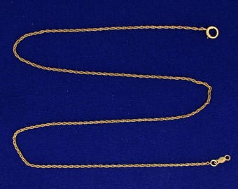 14 3/4 Inch Rope Style Neck Chain in 14k Gold