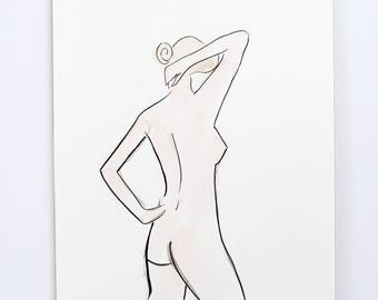Posing Lady / Figure Painting / Original Watercolor / Naked Lady Art / Nude Drawing