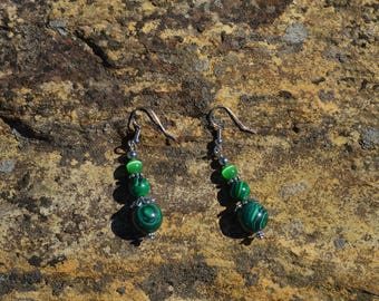 Green malachite with large green moonstones