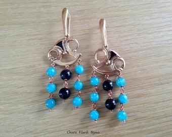 Modern earrings with jade