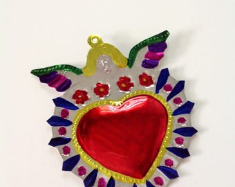 Tin Heart Plaque Handmade Mexican Tin Wall Ornament Mexican Folk Art Recycled Art Hammered Milagros