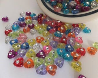 50 pc Mixed Bling Heart Acrylic Beads approx 8x4mm
